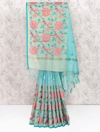 Blue colored festive cotton saree