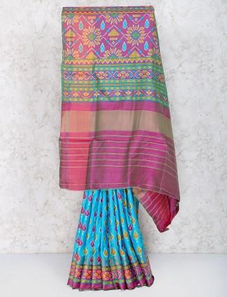Blue colored  festive wear cotton silk saree