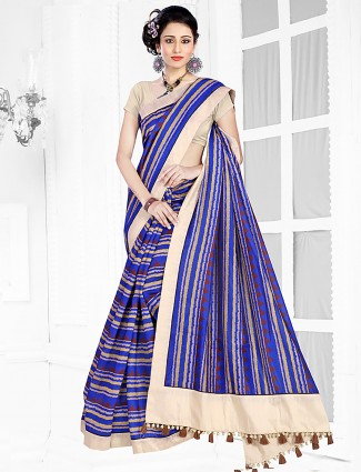 Blue colored hue cotton printed saree