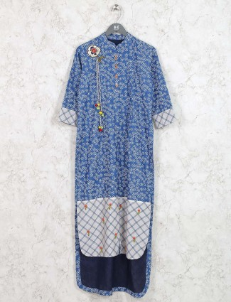 Blue colored kurti in cotton fabric