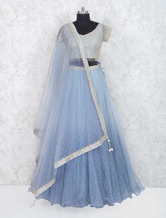 Blue colored net fabric party lehenga choli