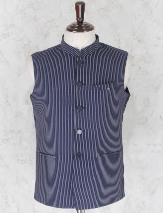 Blue colored party wear waistcoat