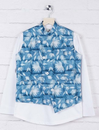 Blue colored printed cotton fabric waistcoat