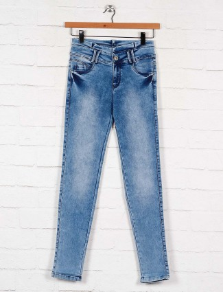 blue colored washed denim jeans