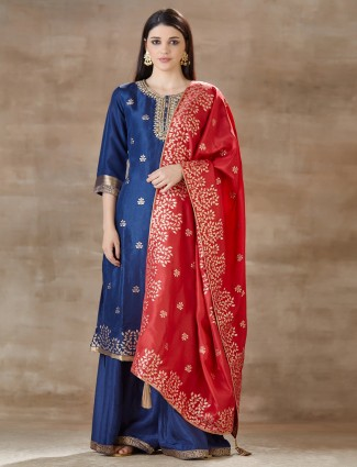 Blue colour palazzo salwar kameez in cotton silk