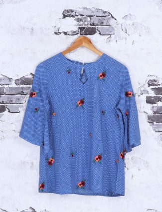 Blue cotton casual wear Top
