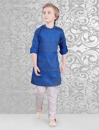 Blue cotton classy printed festive wear kurta suit
