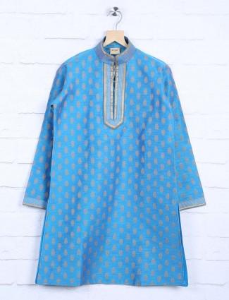 Blue cotton fabric slim fit kurta suit