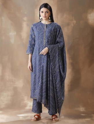 Blue Cotton Festivals Wear Pant Style Salwar Suit