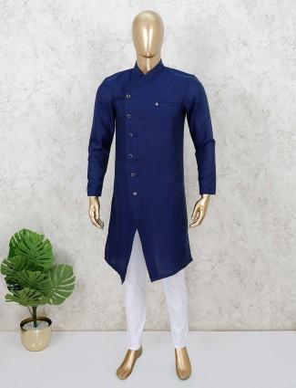 Blue cotton full sleeves solid kurta suit