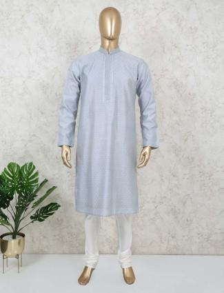 Blue cotton kurta suit for festive get together