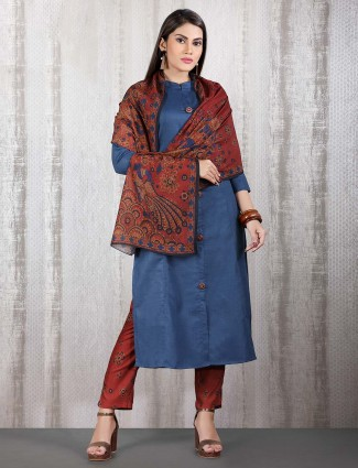 Blue cotton pant style indian straight cut punjabi suit