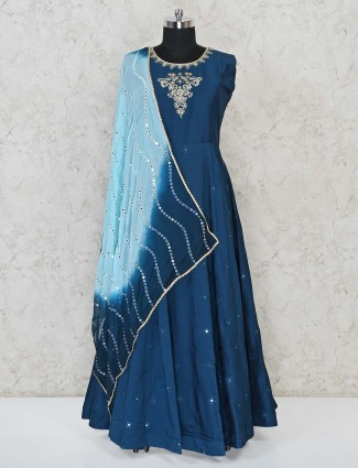 Blue cotton party occassion floor length anarkali suit