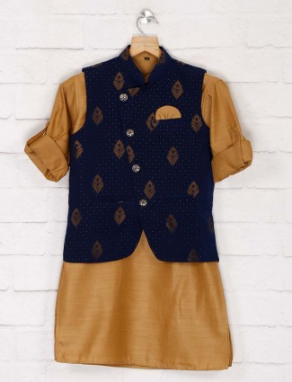 Blue cotton party waistcoat set