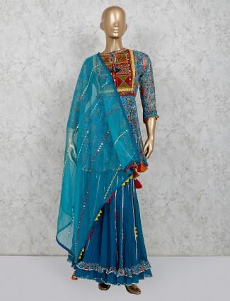 Blue cotton party wear printed punjabi suit