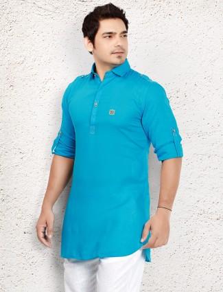 Blue cotton plain short pathani