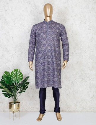 Blue cotton printed and zari woven cotton kurta suit