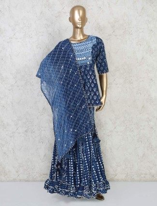 Blue cotton printed peplum style sharara suit