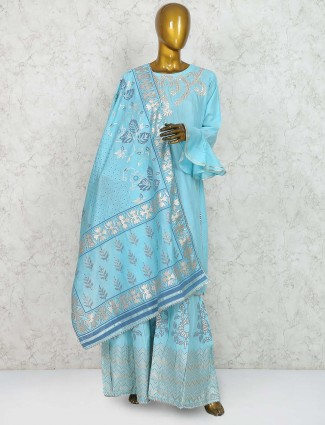 Blue cotton punjabi sharara suit
