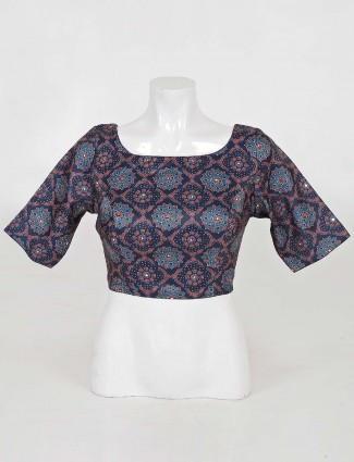 Blue cotton readymade blouse for weddings