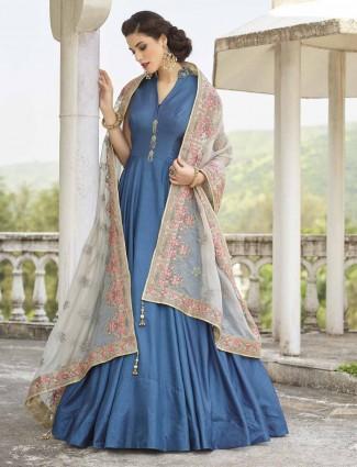 Blue cotton silk festive anarkali salwar suit