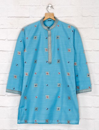 Blue cotton silk festive function kurta suit