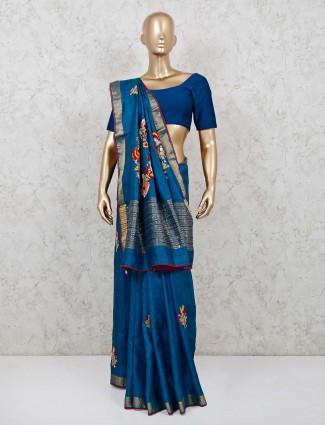 Blue cotton silk festive function saree