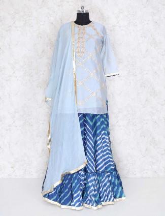 Blue cotton silk lehenga cum salwar suit