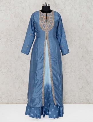 Blue cotton silk lehenga suit for party