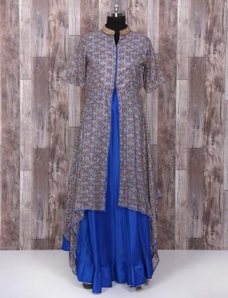 Blue cotton silk one piece festive suit