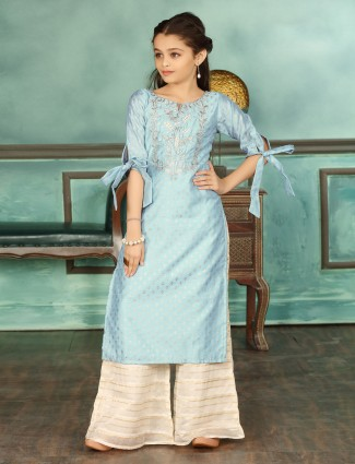 Blue cotton silk palazzo suit for girls