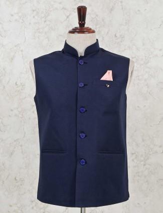 Blue cotton silk party wear waistcoat