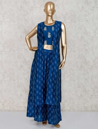 Blue cotton silk printed party wear sharara suit