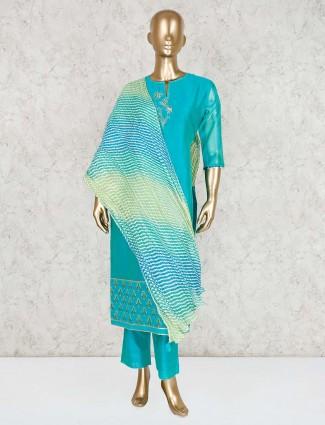 Blue cotton silk punjabi pant suit for festive