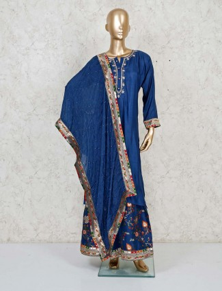 Blue cotton silk punjabi sharara suit with button placket neck style