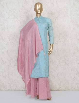 Blue cotton silk salwar suit for festive