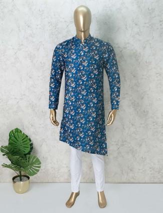Blue cotton silk stand collar kurta suit