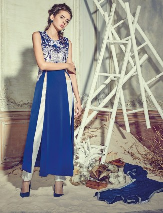 Blue crape designer salwar suit