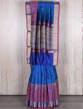 Blue designer classy bhagalpuri silk saree