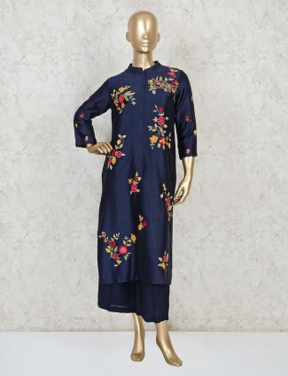 Blue designer palazzo salwar suit in cotton silk for festivals