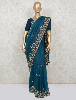 Blue designer saree in organza tissue