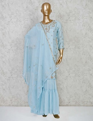 Blue designer sharara salwar suit in cotton silk for festivals