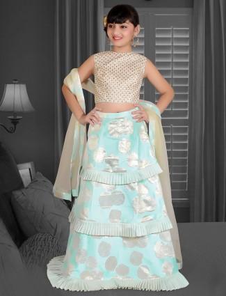 Blue designer silk fabric lehenga choli