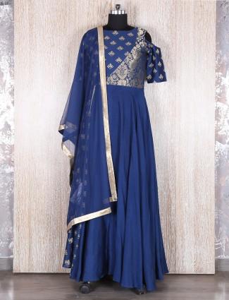 Blue designer silk long anarkali suit