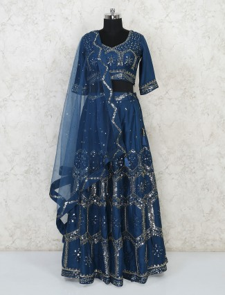 Blue designer silk party wear lehenga choli