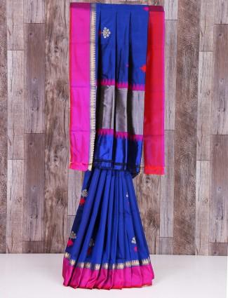 Blue dressy silk saree