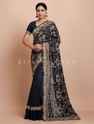 Blue embroidery georgette saree