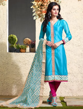 Blue festive chnaderi silk salwar suit