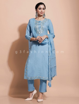 Blue festive cotton kurti set