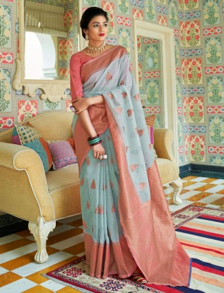 Blue festive cotton linen saree